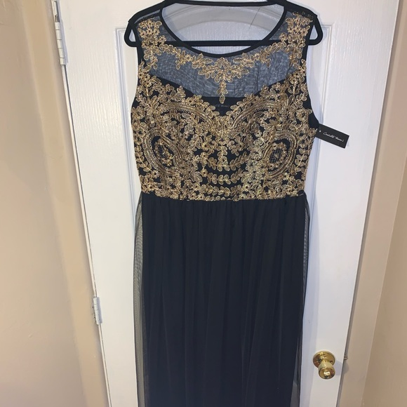 Dresses & Skirts - Plus Size Floor Length Gown with Gold Detailing